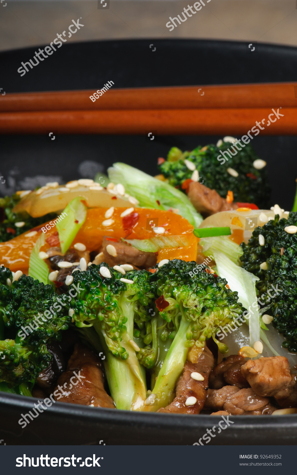 Beef Stir-Fry with broccoli, carrots, onions, peppers, sesame seeds ...