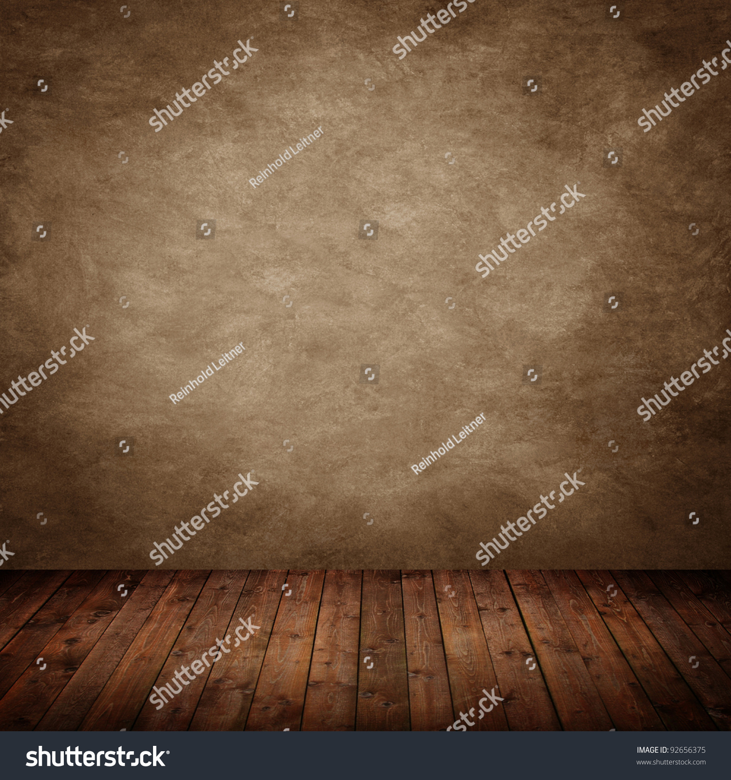 Room Interior Vintage With Brown Textured Wall Stock Photo ...