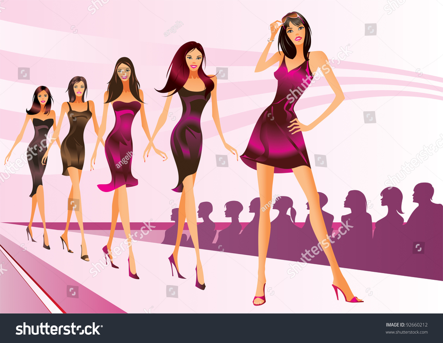 fashion models represent new clothes fashion stock vector