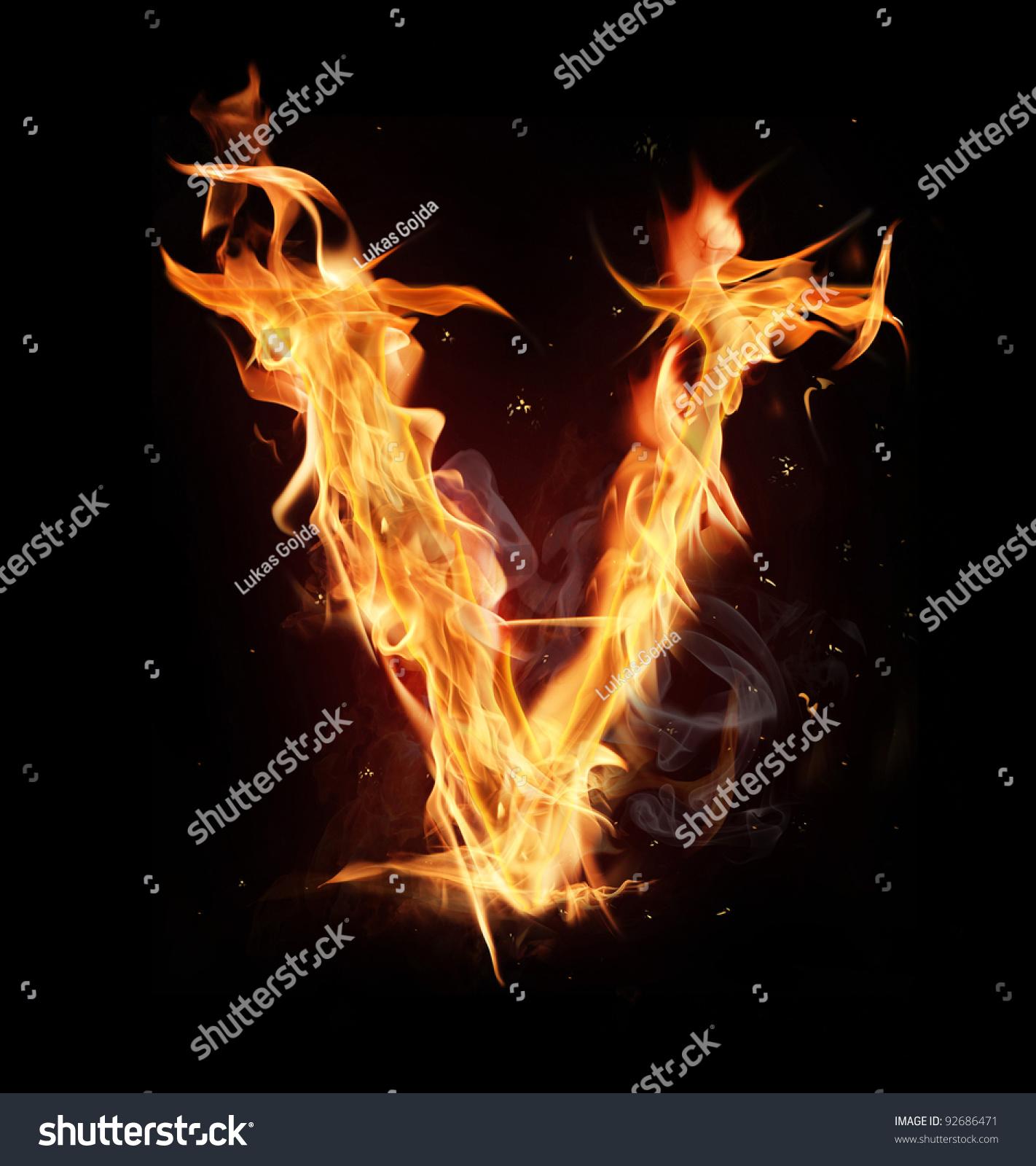 Fire Alphabet Letter V Stock Photo 92686471 - Shutterstock