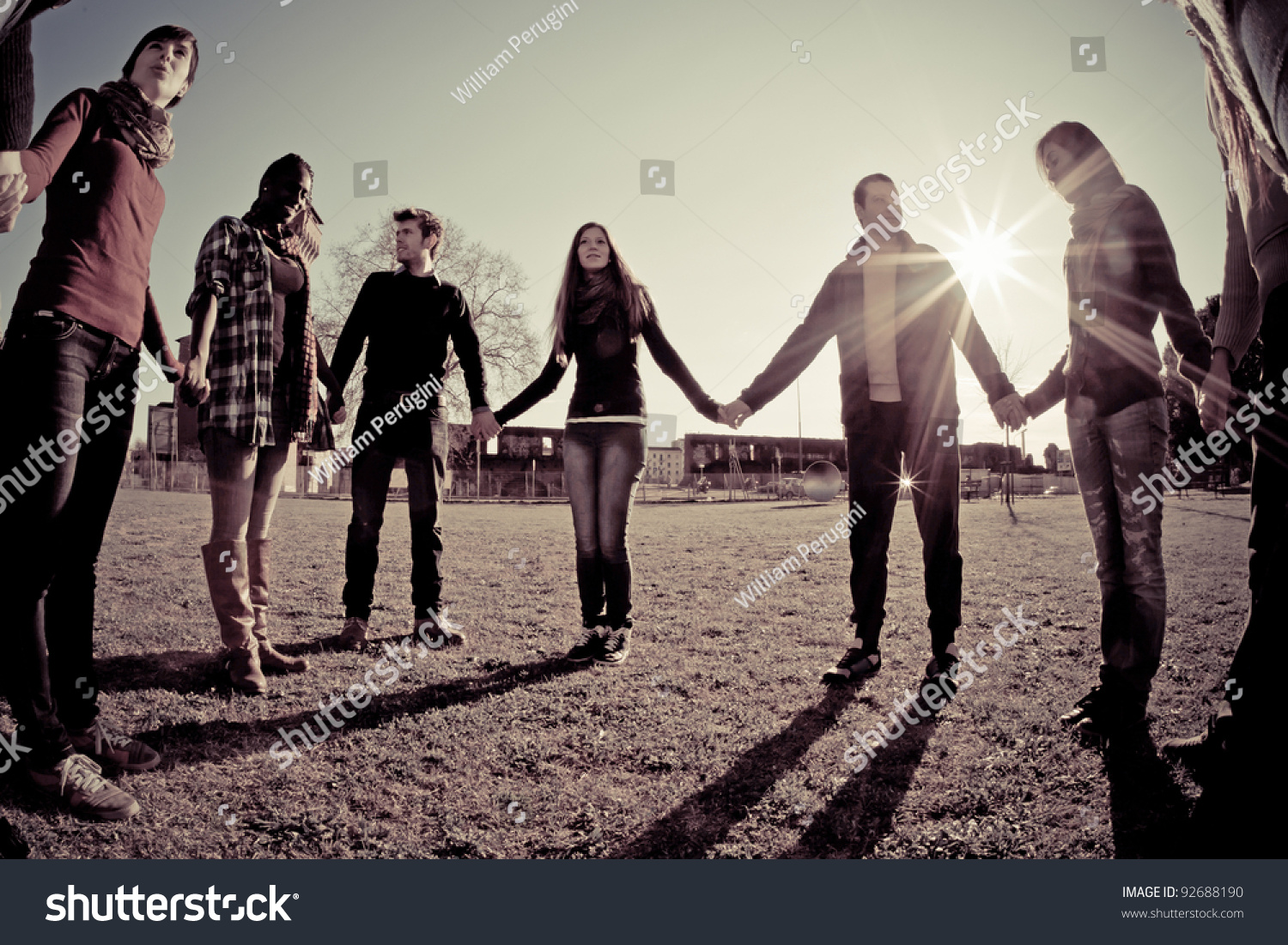 Multiracial Young People Holding Hands Circle Stock Photo ...