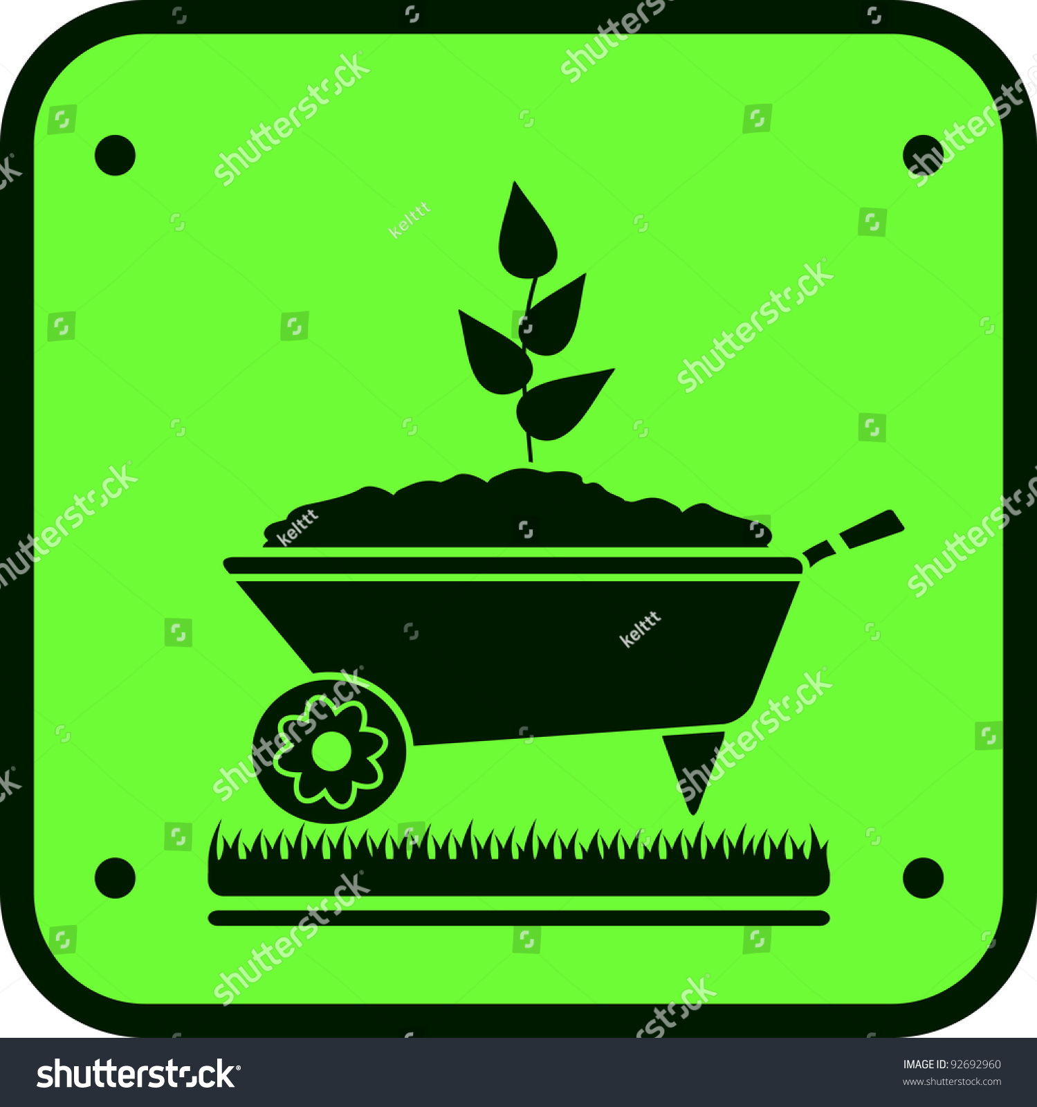 Image Garden Sign Wheelbarrow Green Sprout Stock Vector 92692960