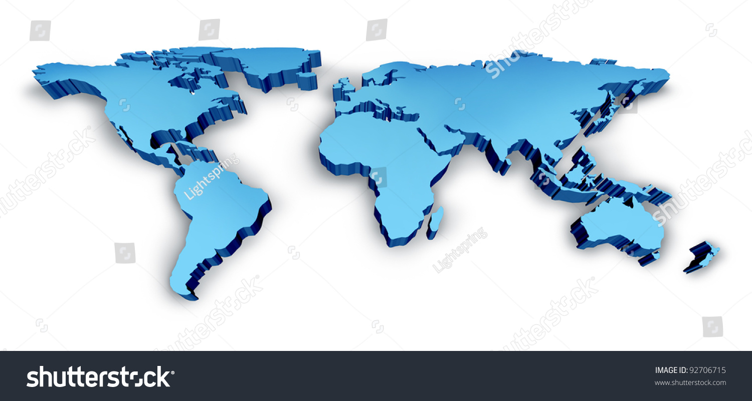 3d Wold Map Blue Dimensional Usa Stock Illustration 92706715