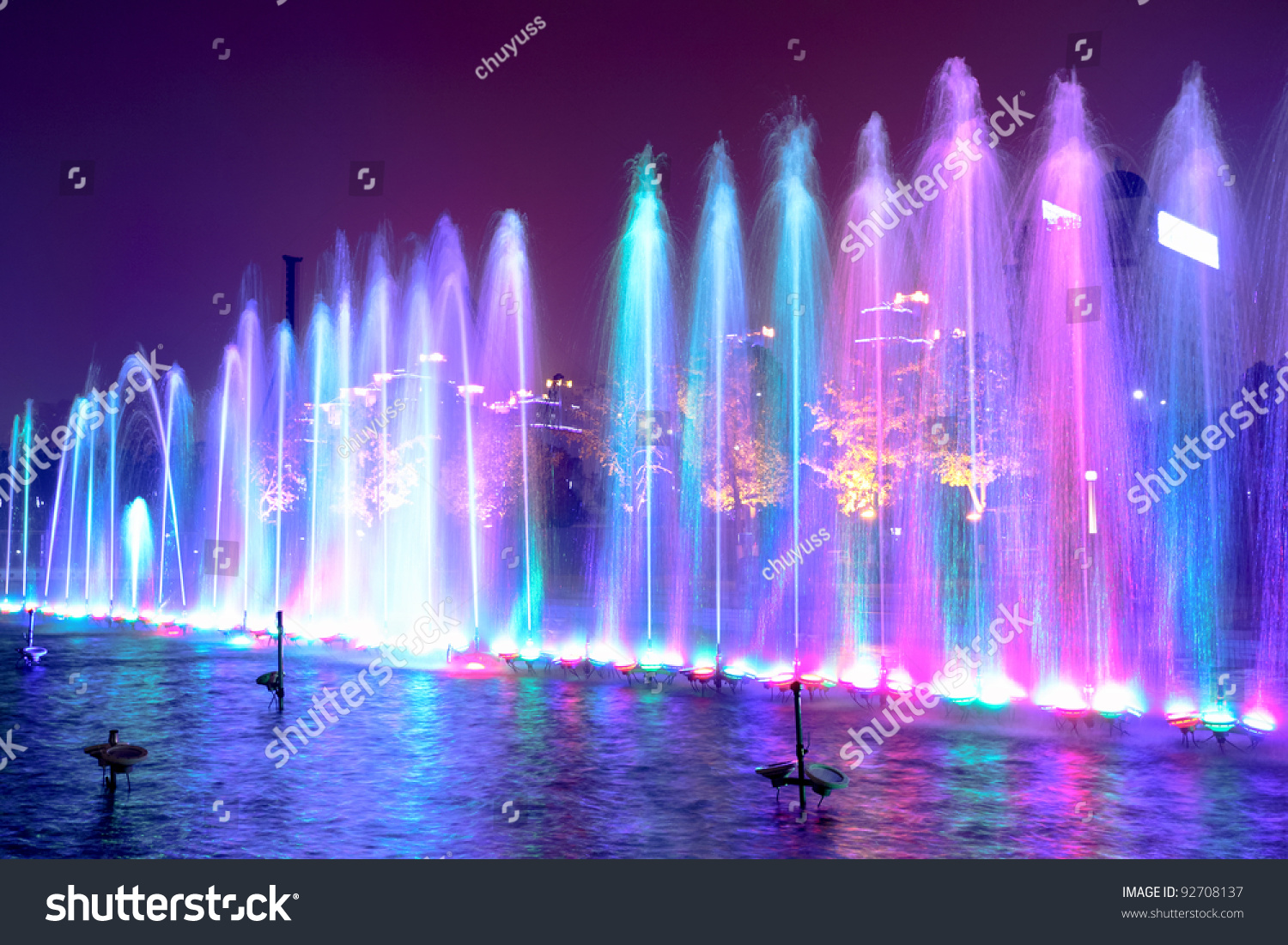 Colored Water Fountain Night Stock Photo 92708137