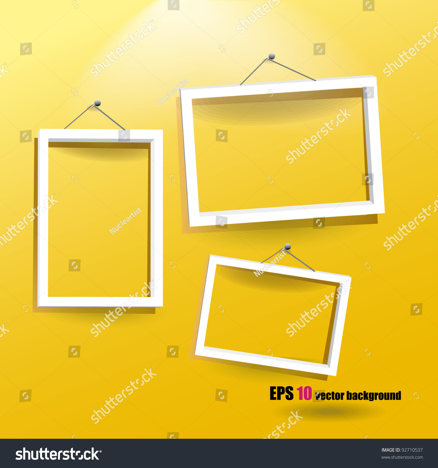 White Frames On Yellow Wall Stock Vector (2018) 92710537 - Shutterstock