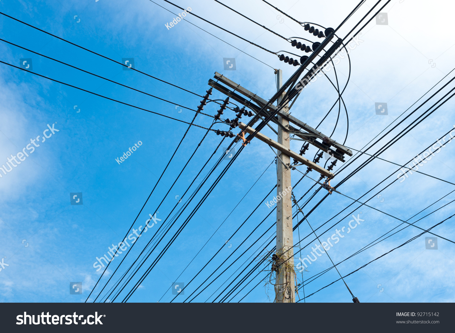 Electric Power Post Wire Stock Photo 92715142 - Shutterstock