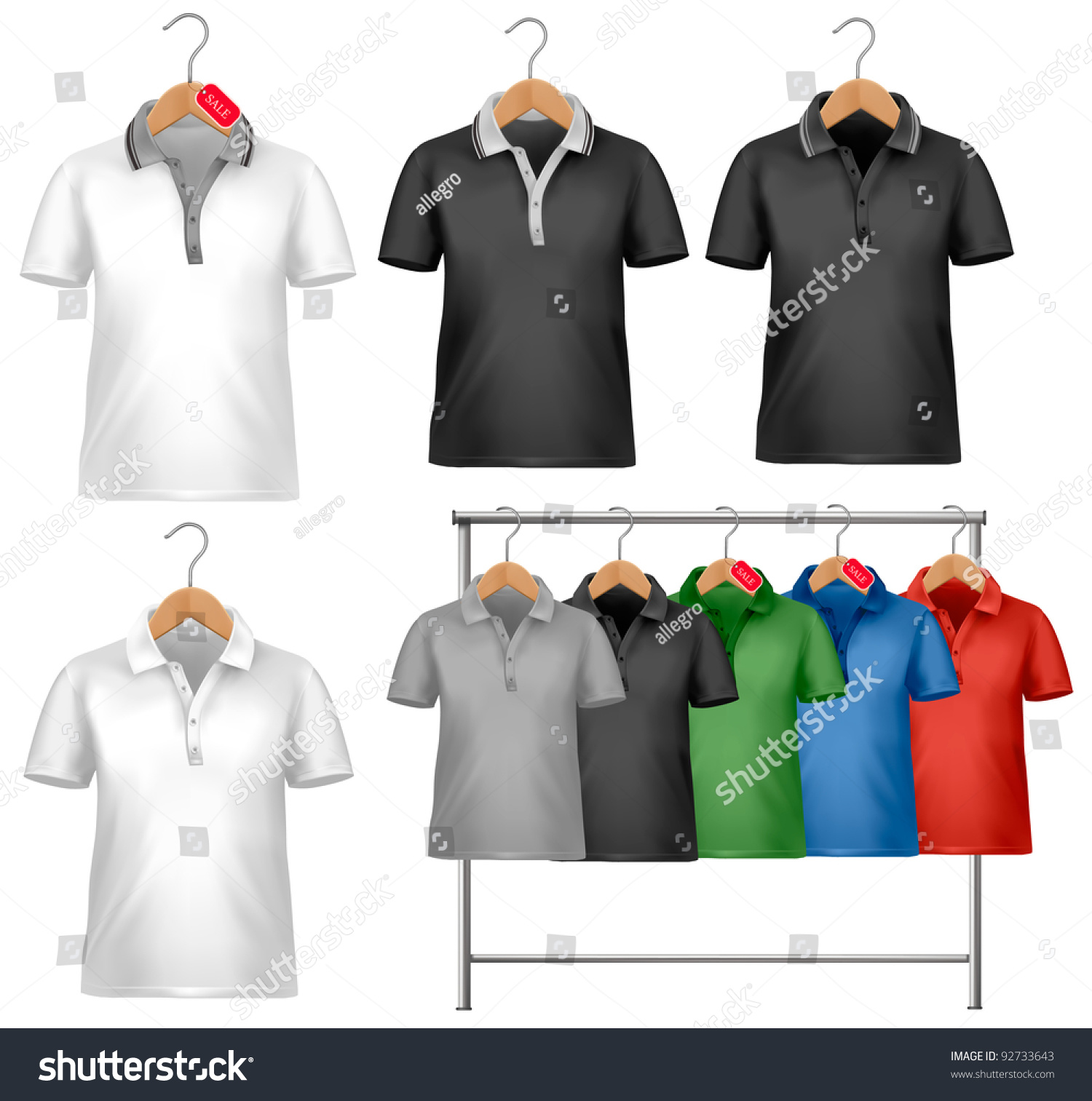 Shirt design price - White And Colorful T Shirt Design Template Clothes Hanger With Shirts With Price Tags