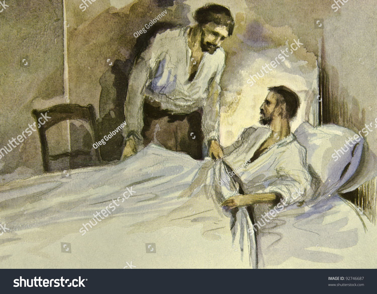 Man Bedside His Sick Friend Illustration Stock Photo 92746687 ...