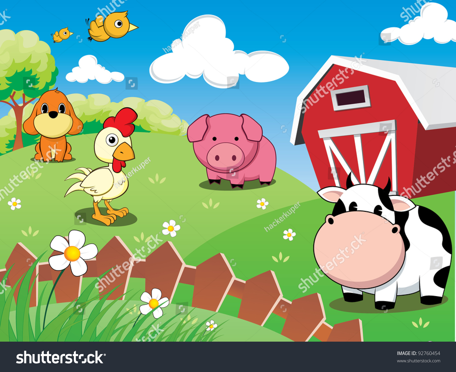 Farm Animals In The Barnyard Cow Pig Chicken Dog And Cute