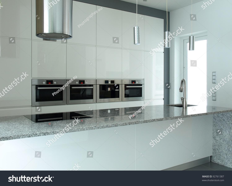 Modern kitchen white grey granite countertop stock photo 92761387 shutterstock - Modern kitchen with white appliances ...