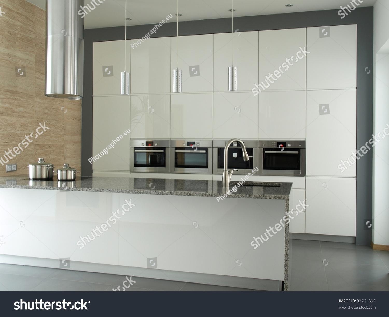 Modern Minimalist Kitchen White Builtin Appliances Stock