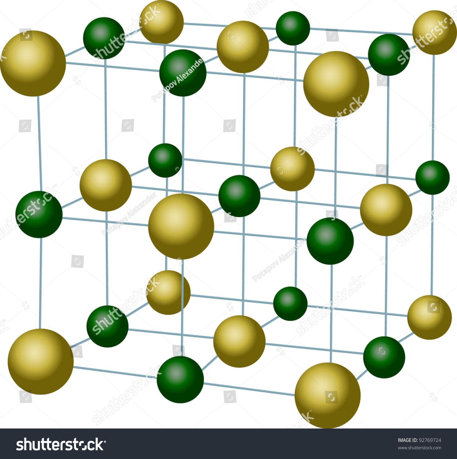 Illustration Sodium Chloride Crystal Structure Stock
