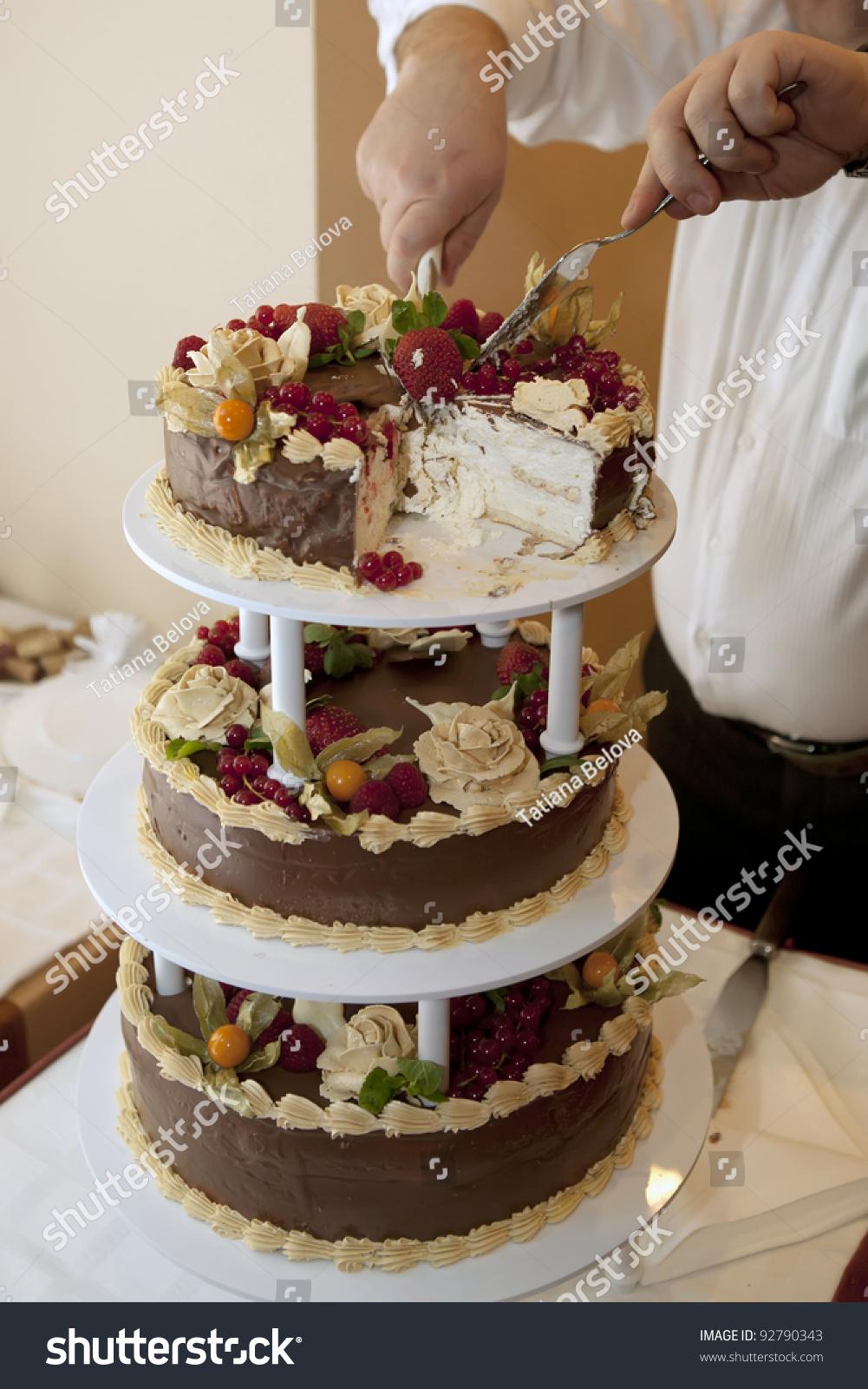 A Luxury Birthday Cake Being Cut Stock Photo 92790343