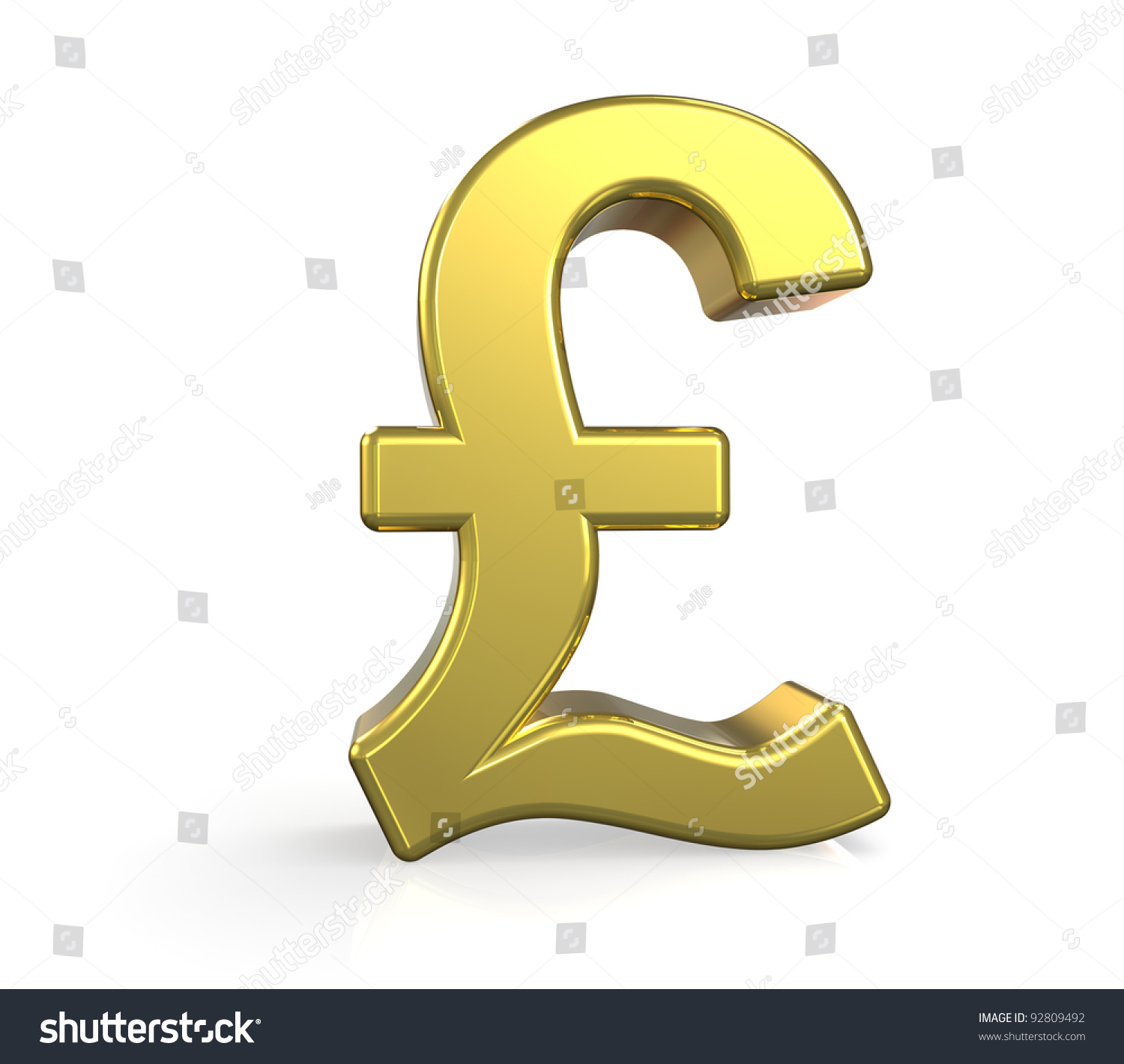 Pound Currency Symbol In Gold On White Background Ez Canvas