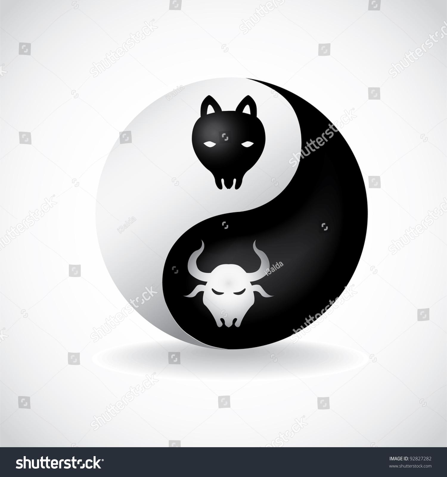 Bull Bear Yin Yang Symbol Illustration Stock Vector Royalty Free