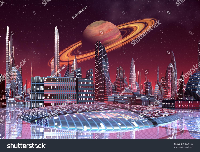 Alien City Fantasy City Skyline On Stock Illustration 92836606