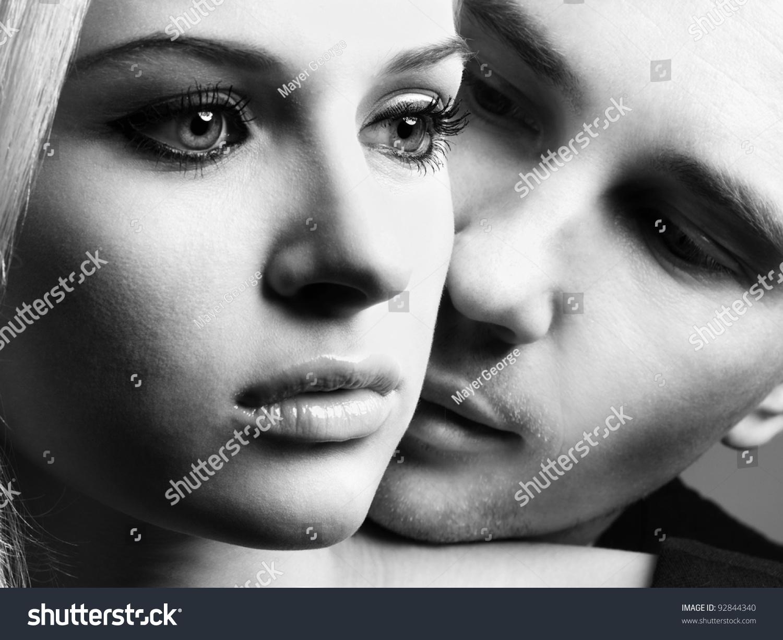 Portrait Young Elegant Couples Tender Passion 92844340