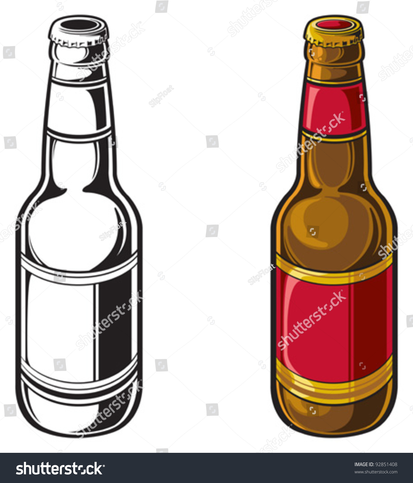 beer bottle stock vector 92851408 shutterstock rh shutterstock com beer bottle vector png free vector beer bottle silhouette