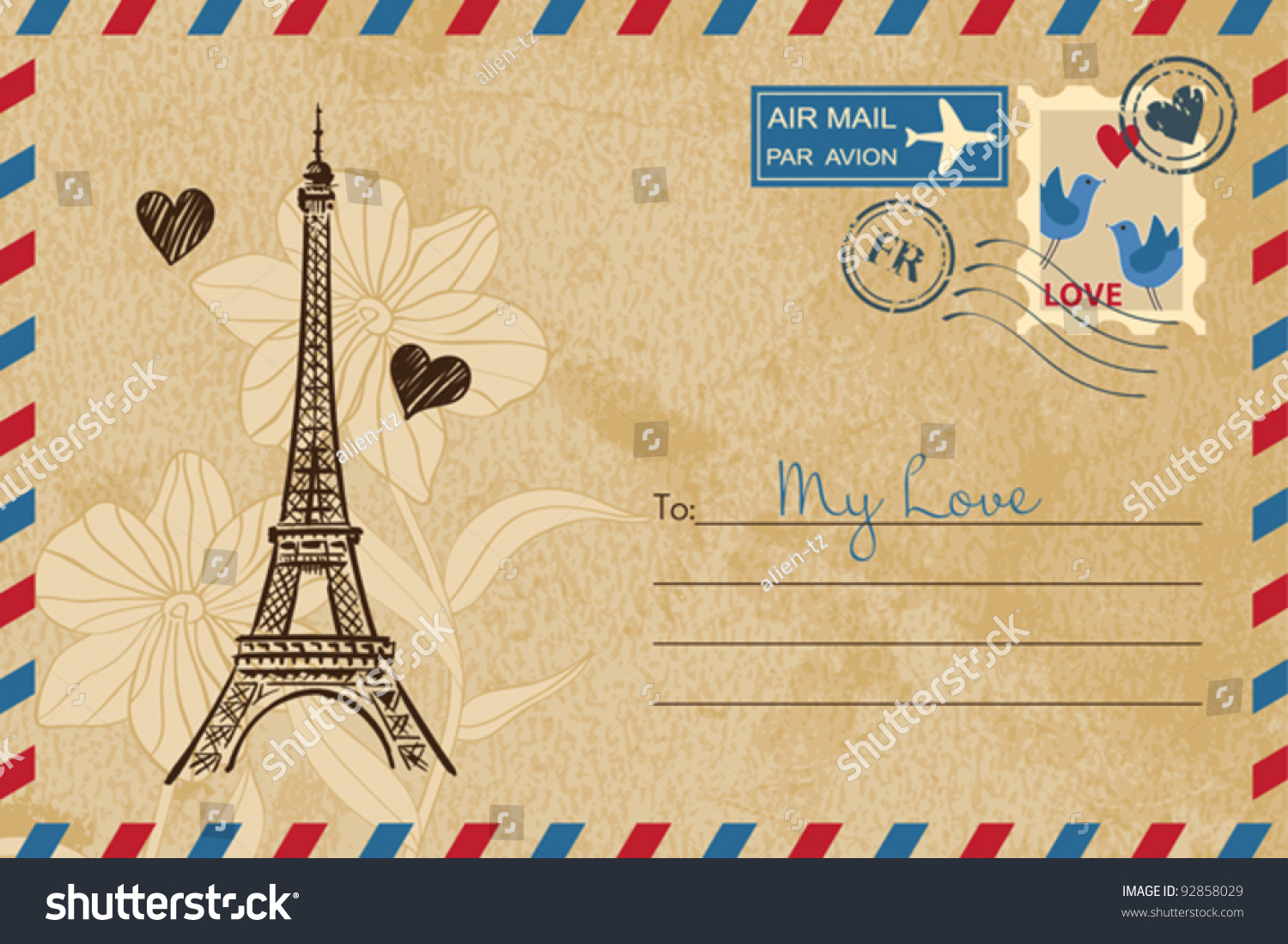 Vintage Valentines Day Postcard Vector 92858029 Shutterstock – Valentines Day Post Cards