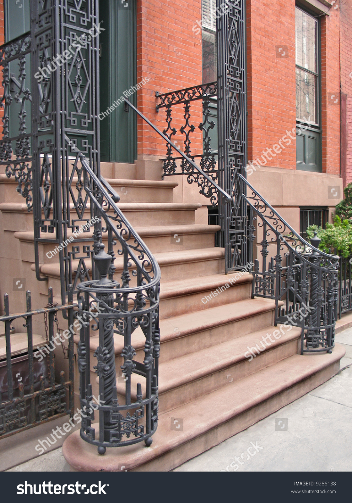 Entrance To Greenwich Village, Nyc Townhouse With Ornate