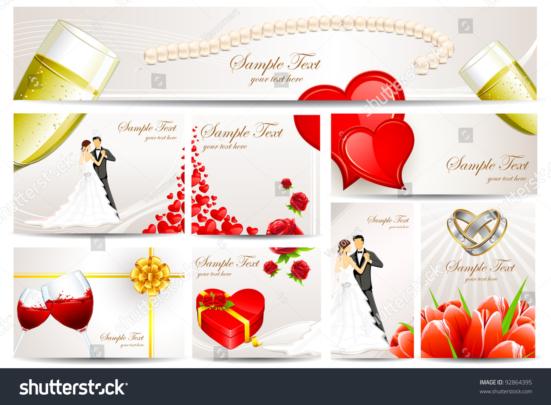 Illustration Set Wedding Reception Invitation Card Stock Vector ...