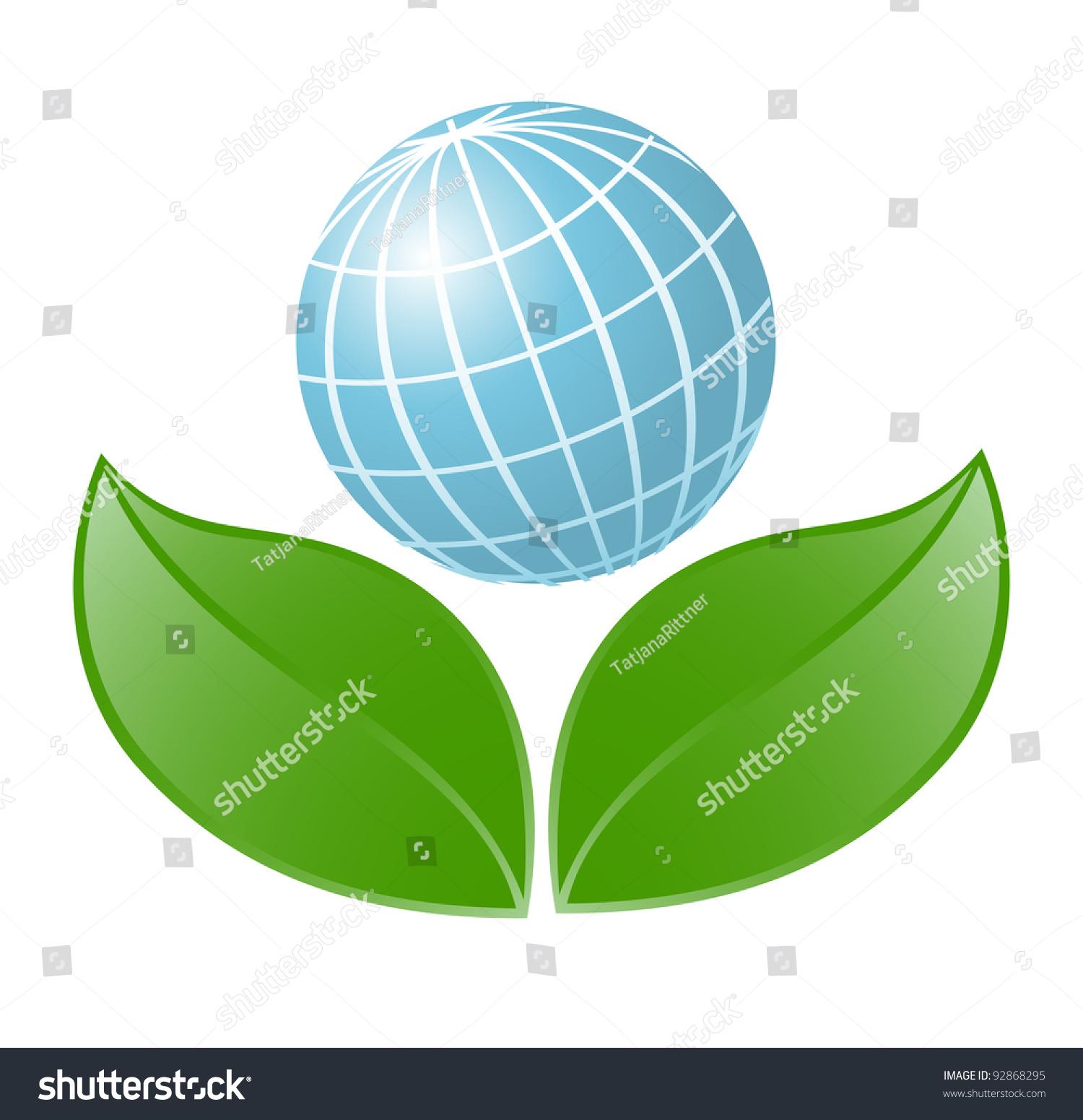Symbol Globe Plant Vectorillustration Stock Vector 92868295