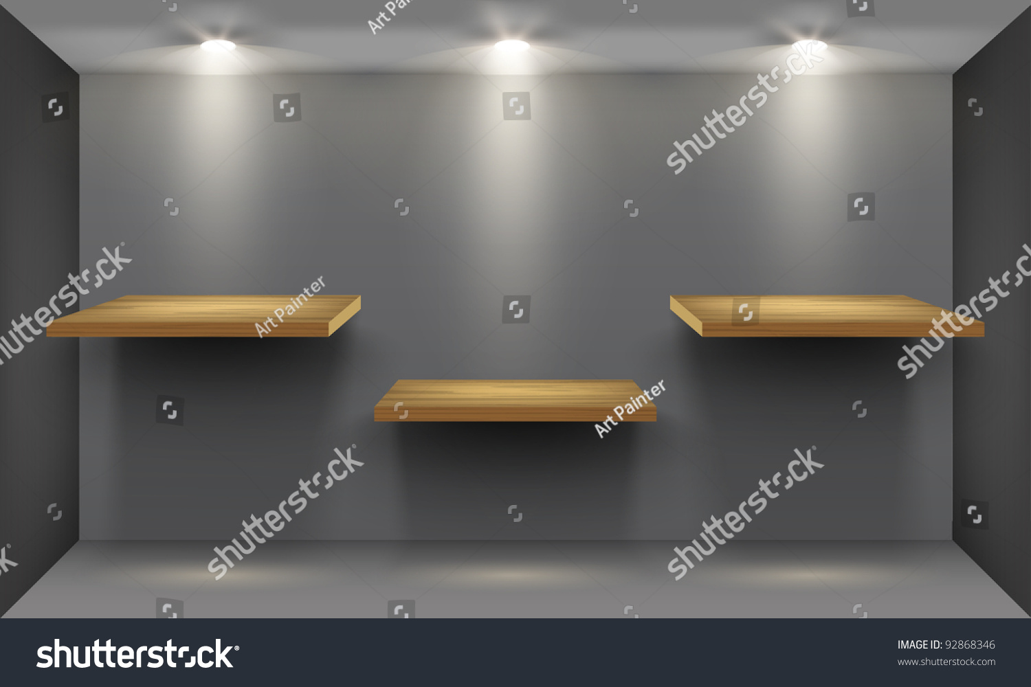 Interior wooden shelves free vector - Room With Three Empty Wooden Shelf Illuminated By Searchlights Part Of Set Vector