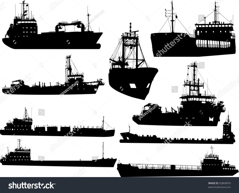 Set Silhouettes Sea Cargo Ships Stock Vector 92869876 - Shutterstock