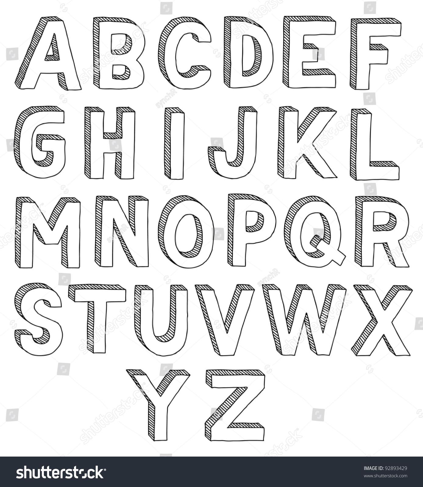 hand drawn vector abc font 3d alphabet 92893429 shutterstock. Black Bedroom Furniture Sets. Home Design Ideas