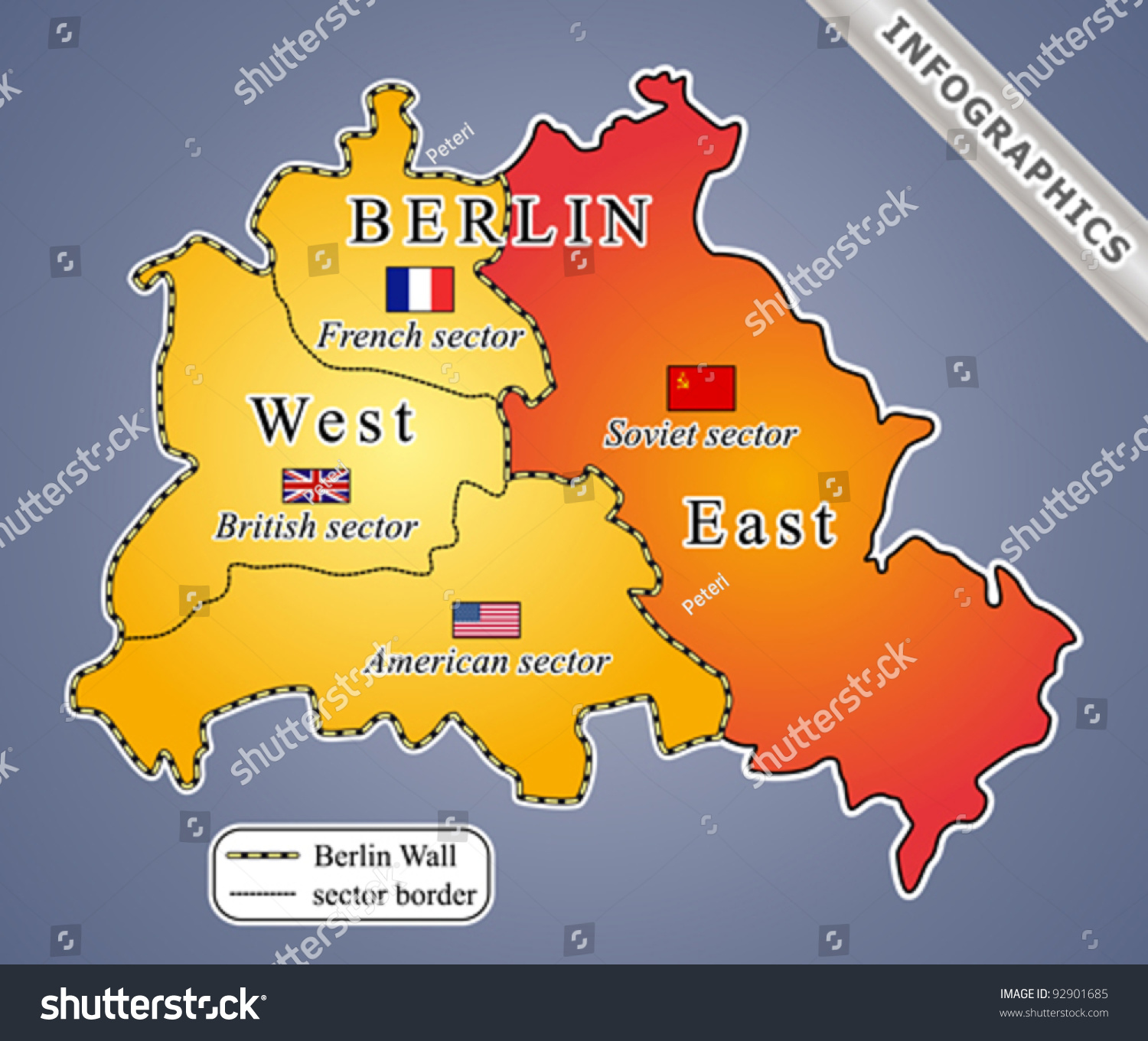 Map Of Germany Cold War.Berlin Map During Cold War Including Stock Photo 92901685 Avopix Com