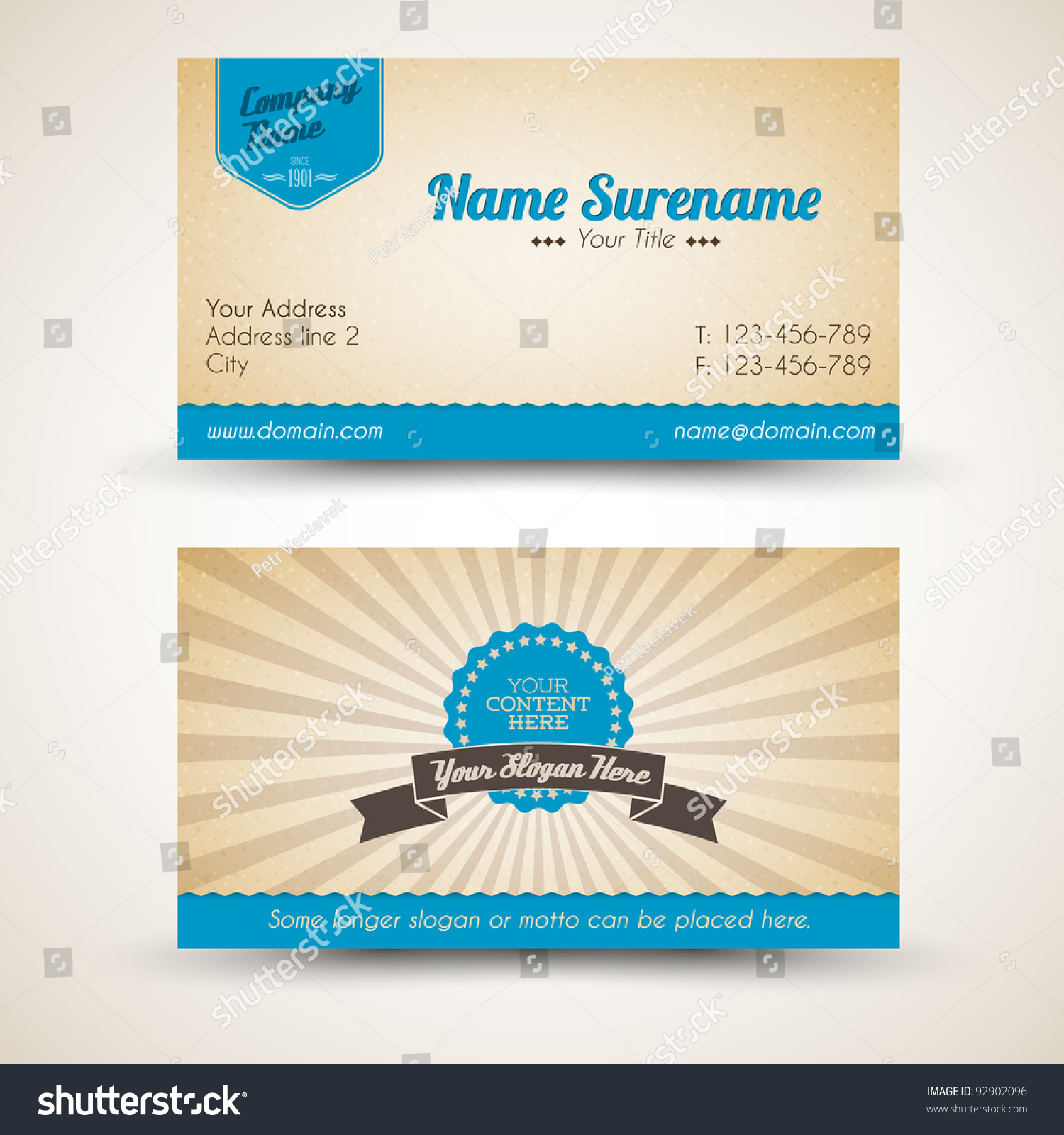 Vector Oldstyle Retro Vintage Business Card Stock Vector (2018 ...