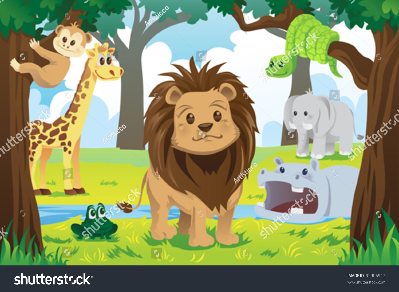 Vector Illustration Wild Jungle Animals Animal Stock Vector ...