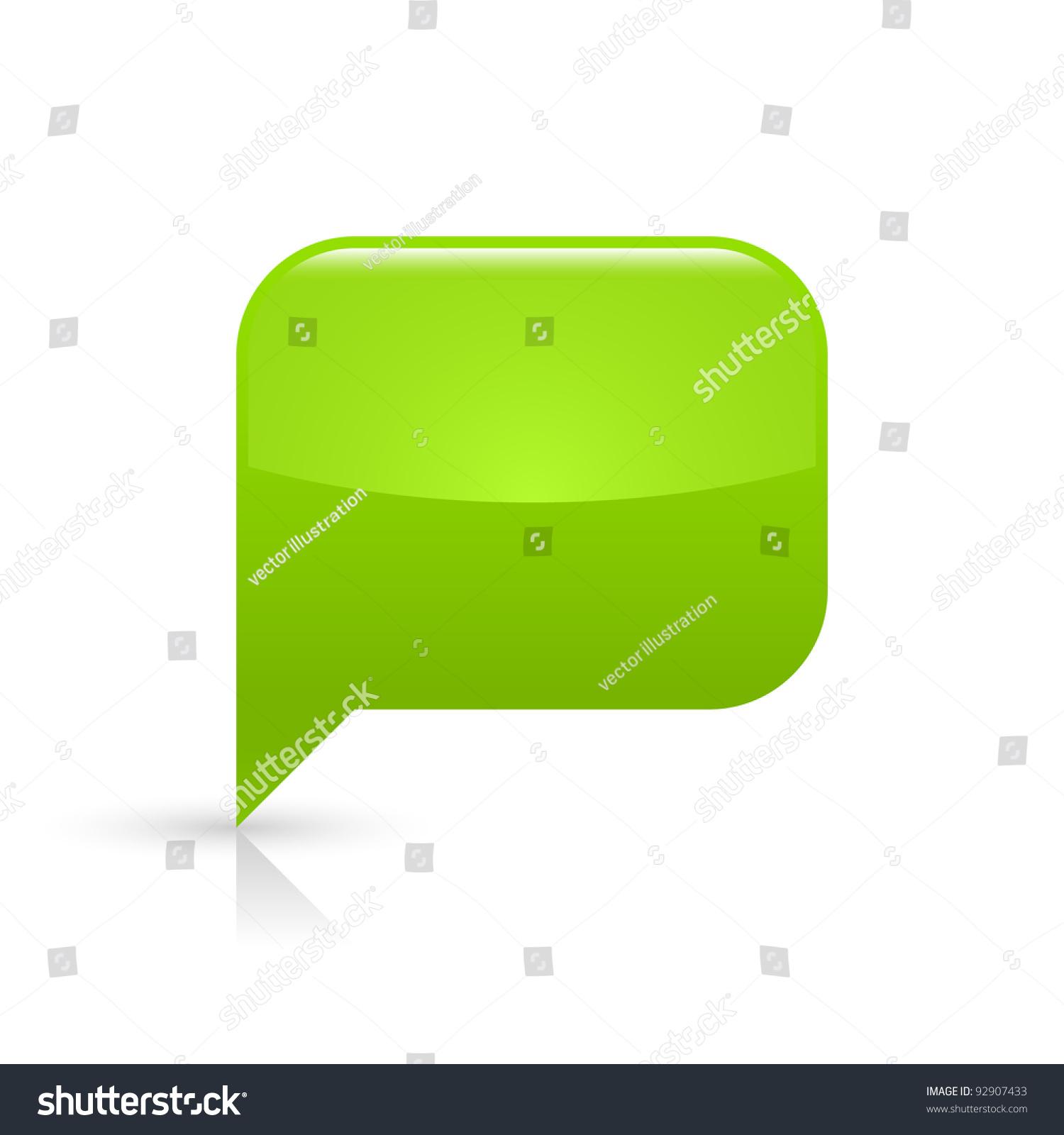 green glassy empty speech bubble web stock vector 92907433