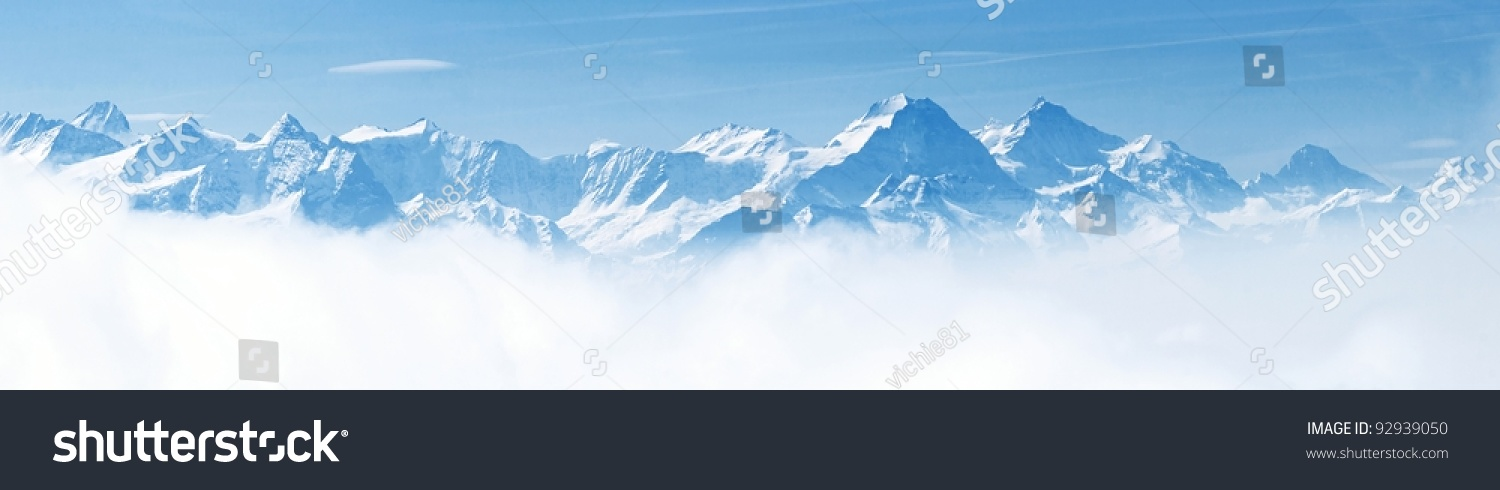 Panorama of Snow Mountain Range Landscape with Blue Sky from Pilatus Peaks Alps Lucern Switzerland #92939050