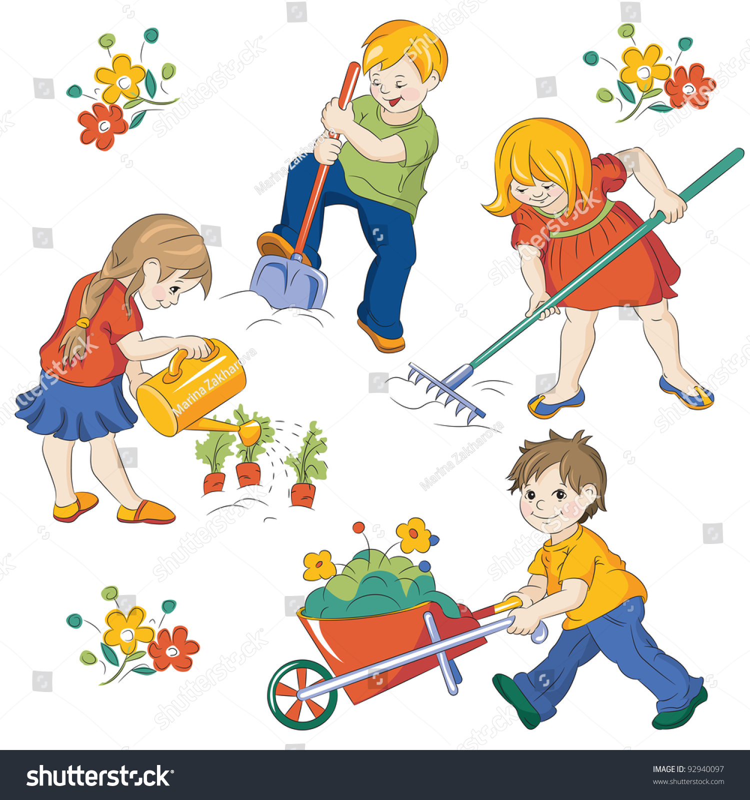 Children Workings In A Vegetable Garden Stock Vector - garden clip art help