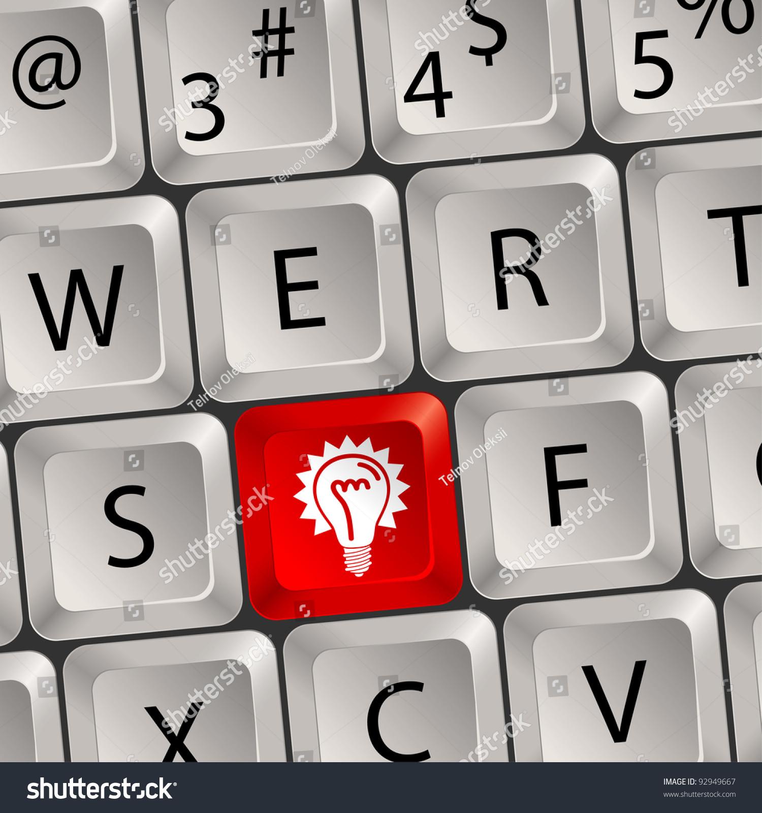 Computer Keyboard Key Light Bulb Symbol Stock Illustration Royalty