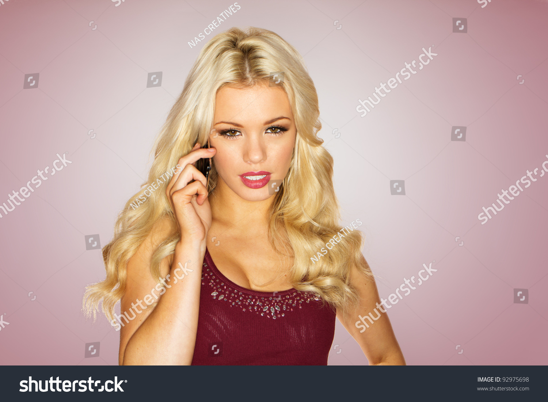 Stunning Woman Long Wavy Blonde Hair Stock Photo Edit Now 92975698