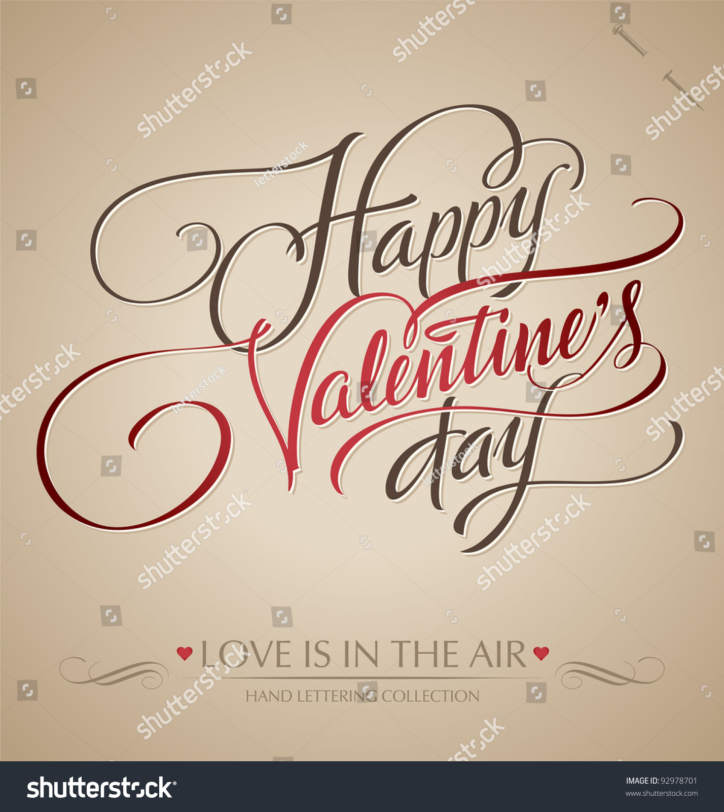 Happy valentines day hand lettering handmade stock vector