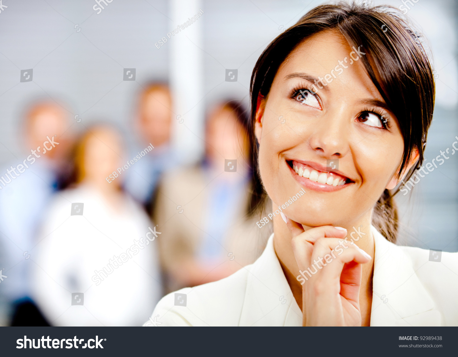 Portrait thoughtful business woman office stock photo 92989438 shutterstock - Office portrait photography ...