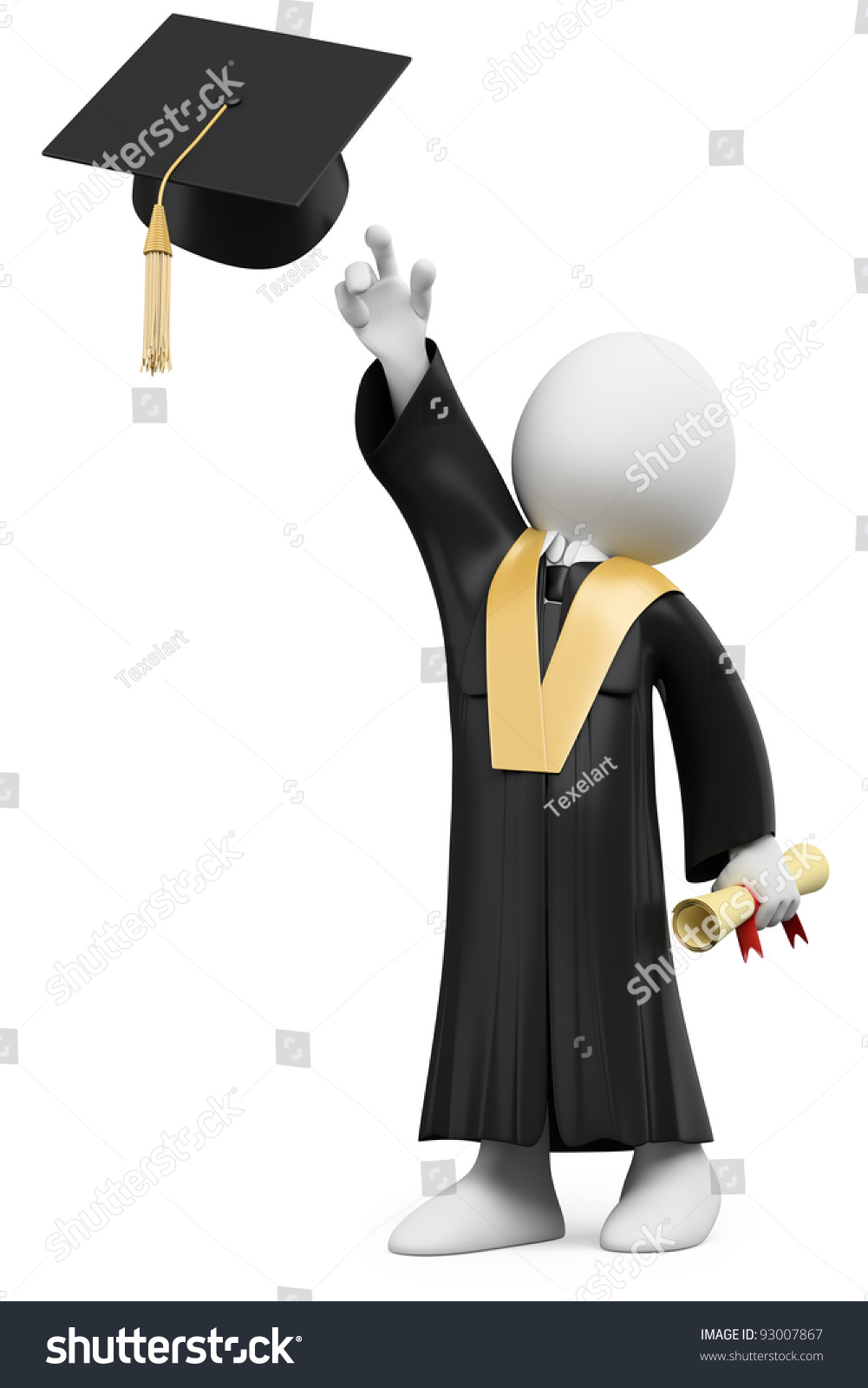Royalty Free Stock Illustration of 3 D Student Dressed Cap Gown On ...
