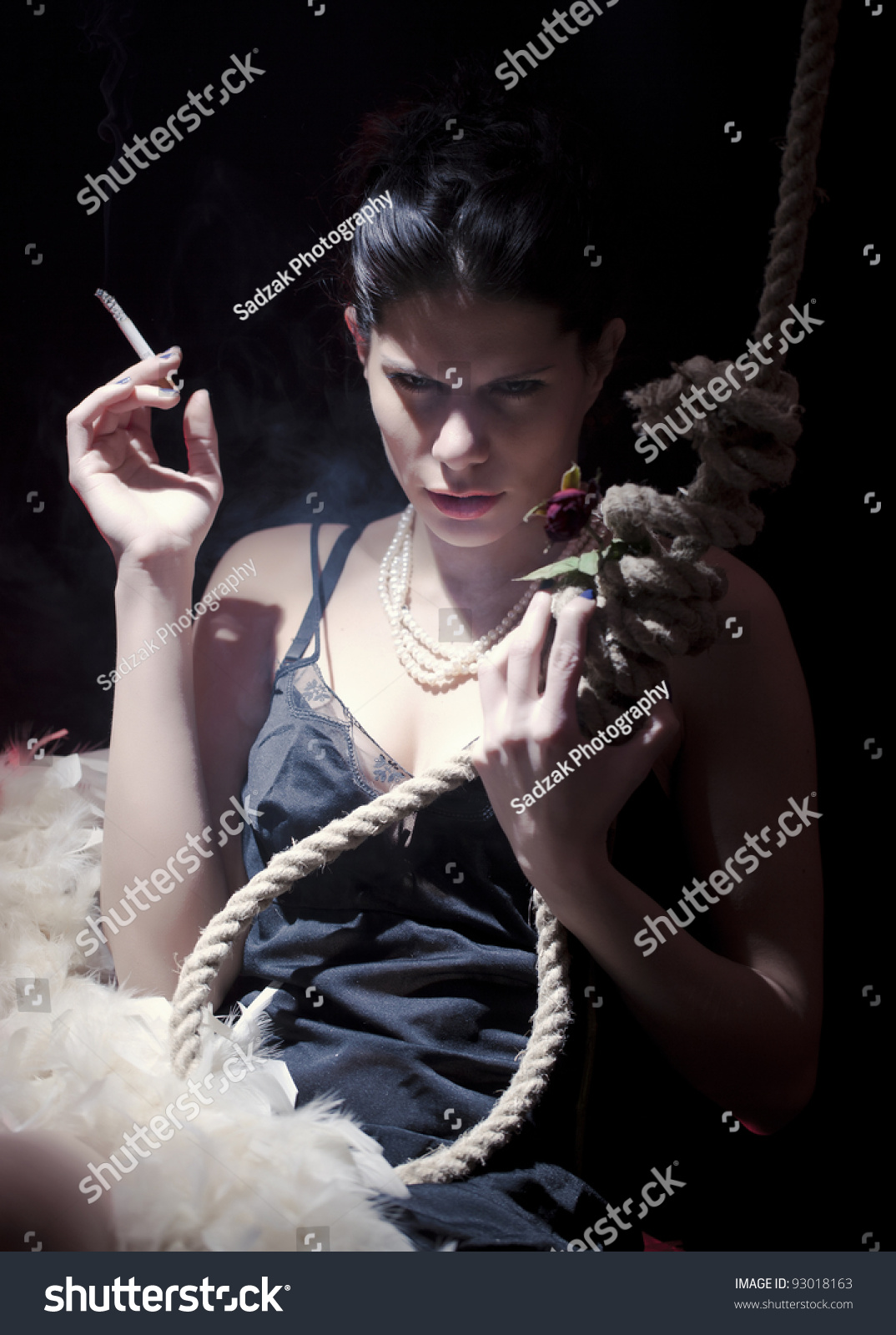 Roped and suicide girl