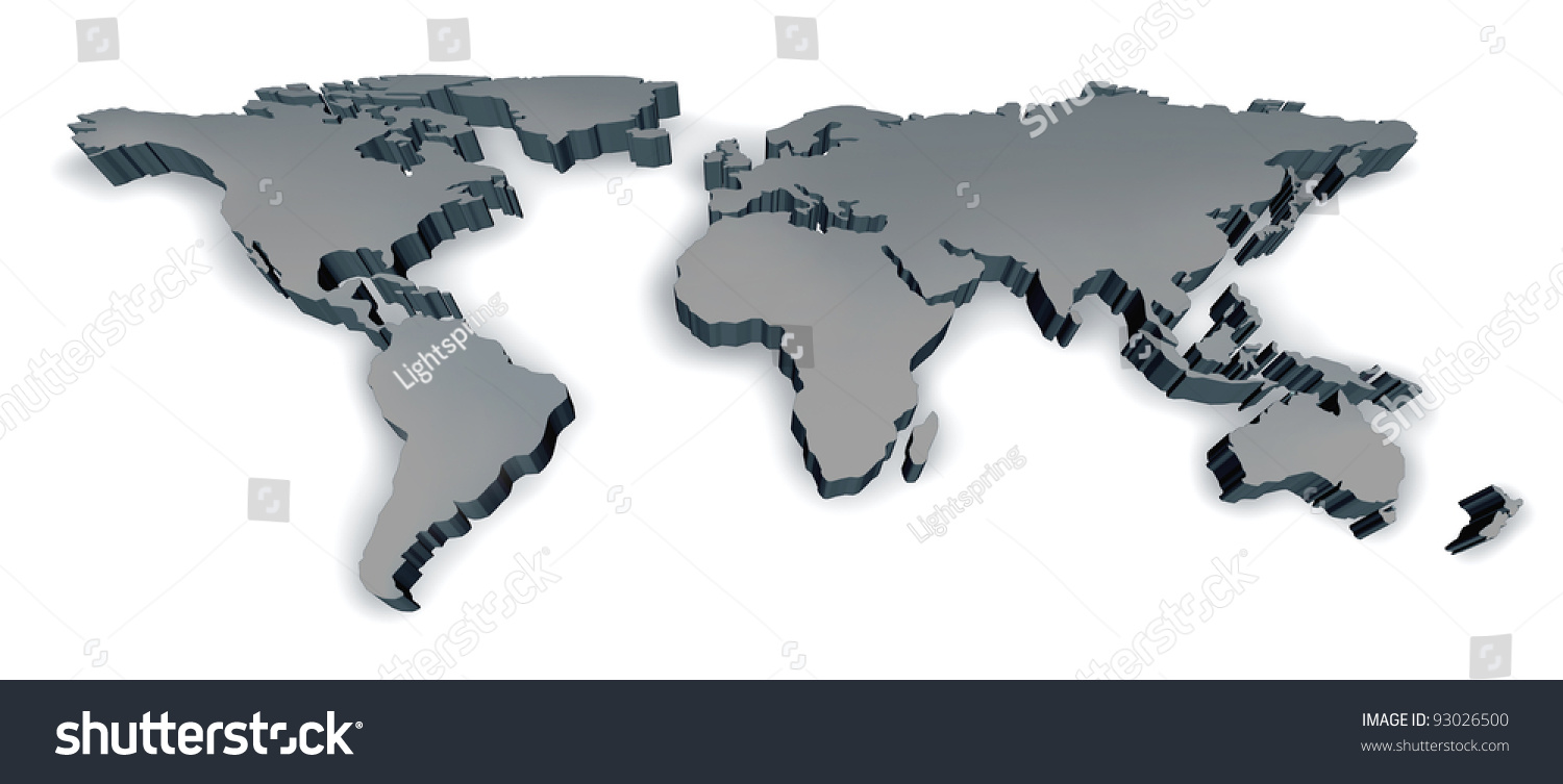 Three dimensional grey world map usa stock illustration 93026500 three dimensional grey world map with usa europe africa the americas and asia as an international gumiabroncs Images