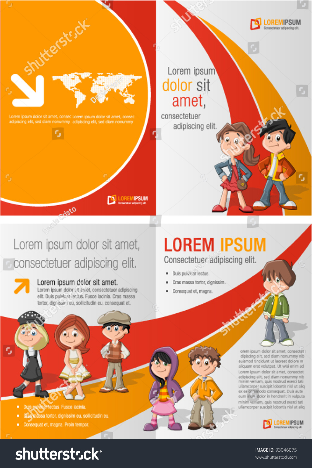 orange red template advertising brochure children stock vector orange and red template for advertising brochure children students