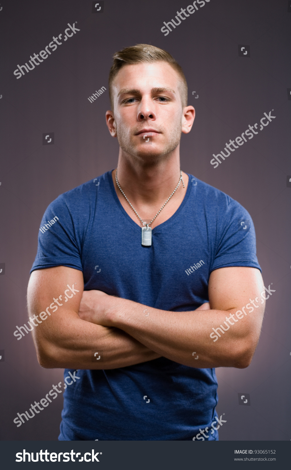 15 Year Boys Bedroom: Bouncer Portrait Tough Looking Muscular Young Stock Photo