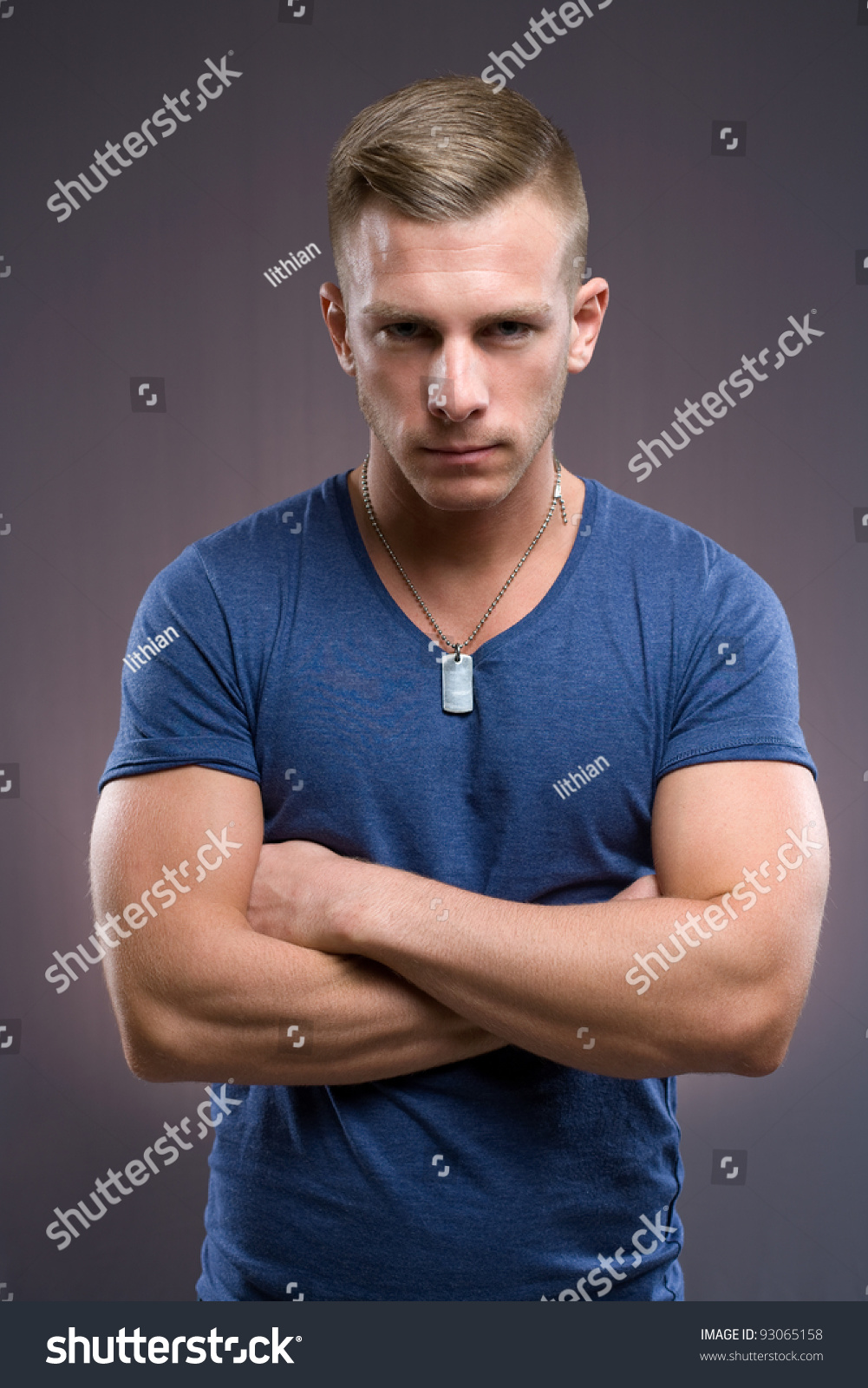 15 Year Boys Bedroom: Portrait Masculine Tough Looking Young Man Stock Photo