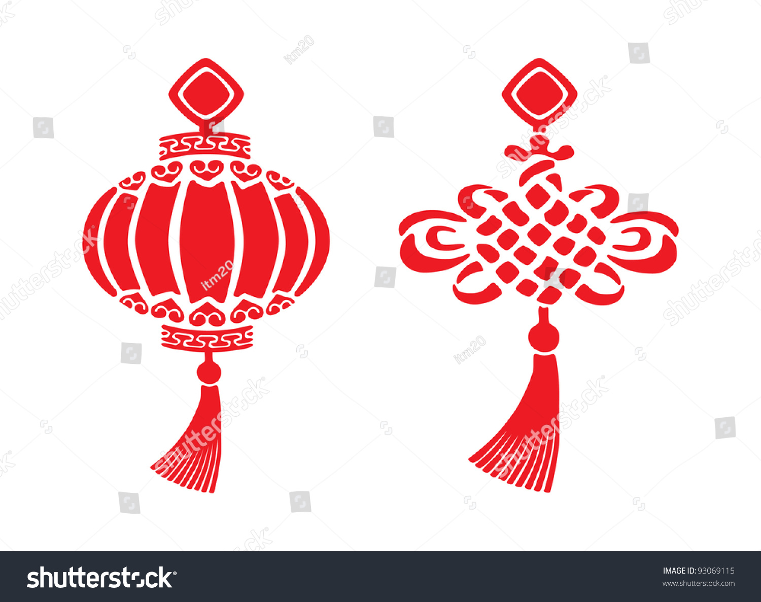 Chinese new year symbols two red chinese new year symbols stock vector 93069115 shutterstock buycottarizona Gallery