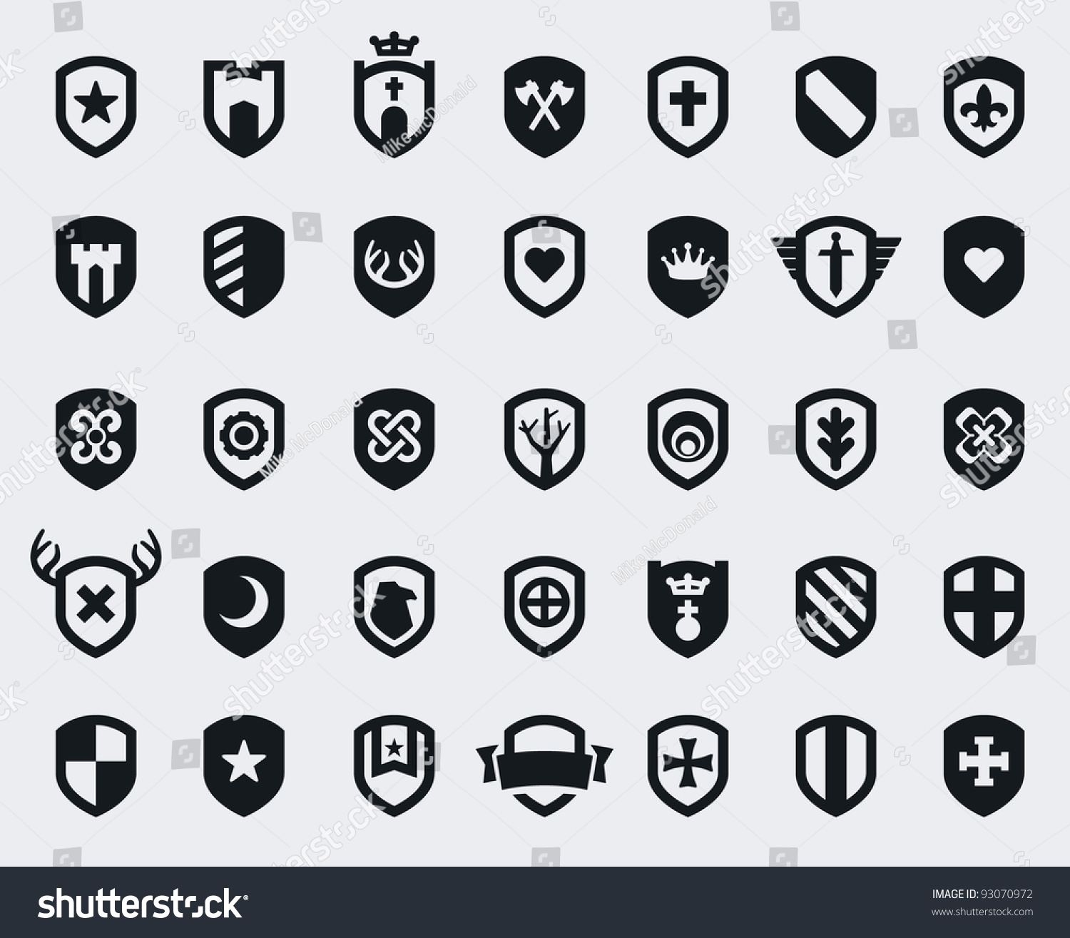 Set 35 Shield Icons Various Medieval Stock Vector Royalty Free