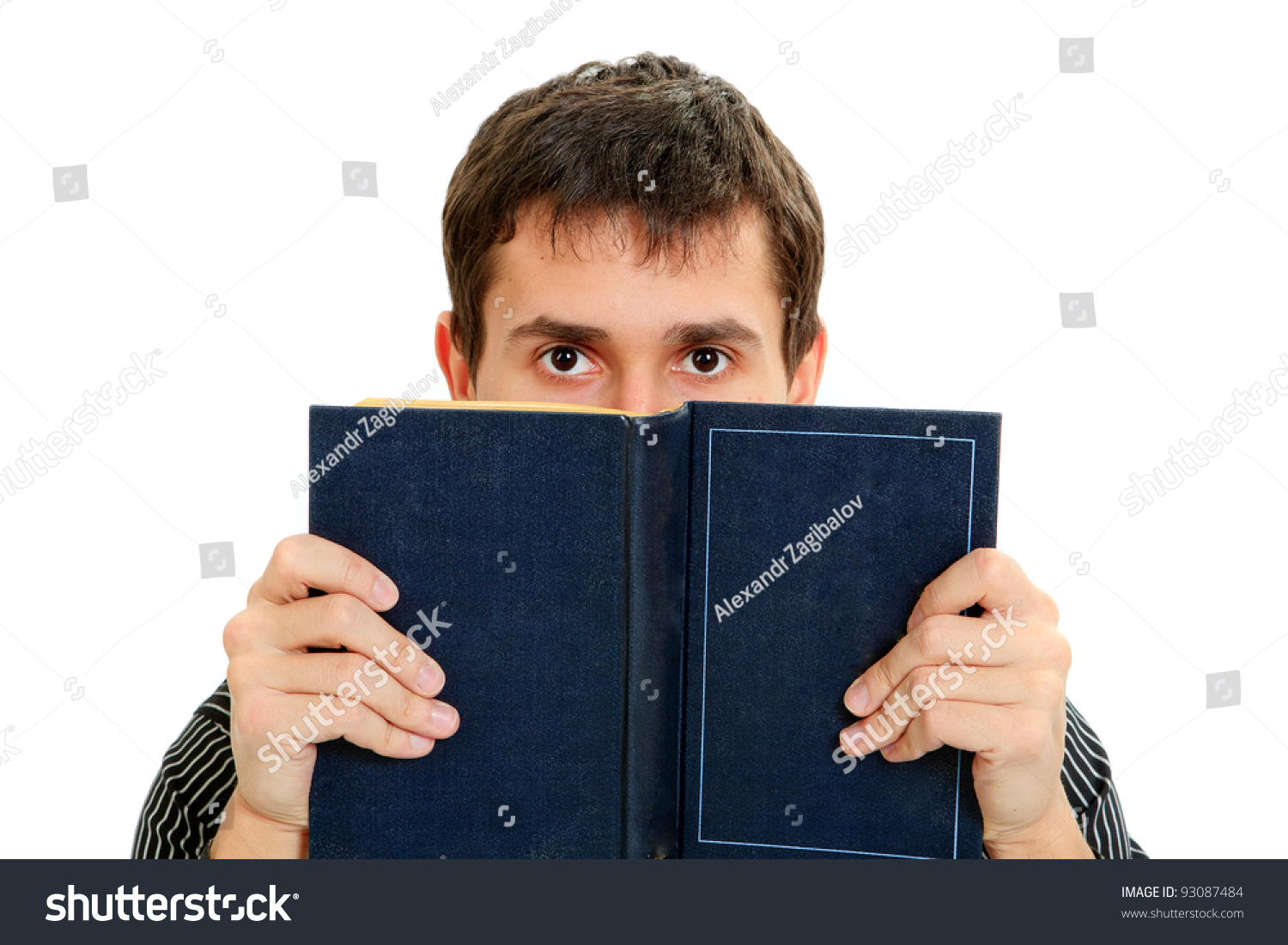 Young Student Reading Book Isolated On Stock Photo Edit Now