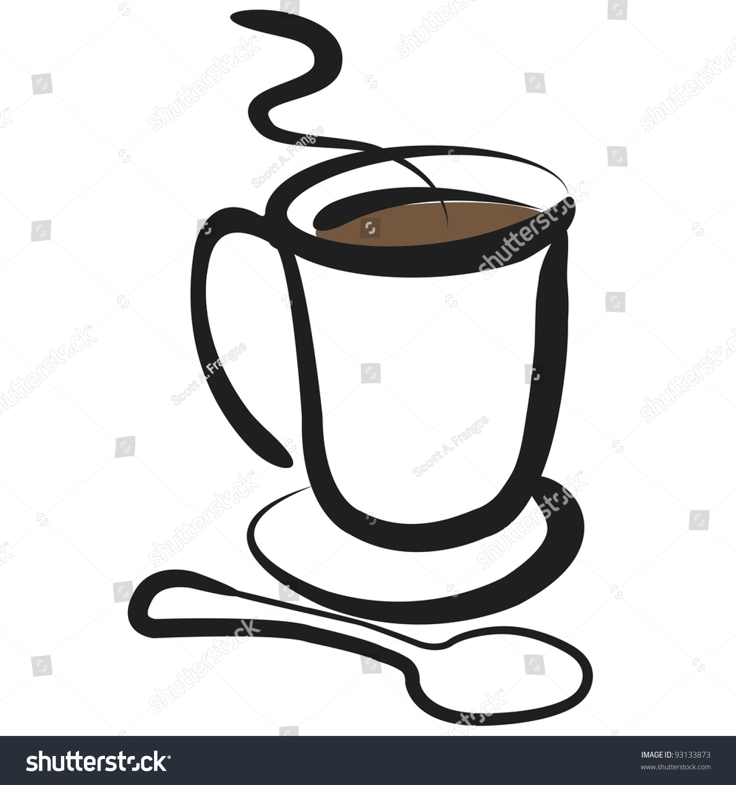 vector coffee cup illustration simple clean stock vector  vector coffee cup illustration simple clean drawing of cup of coffee spoon