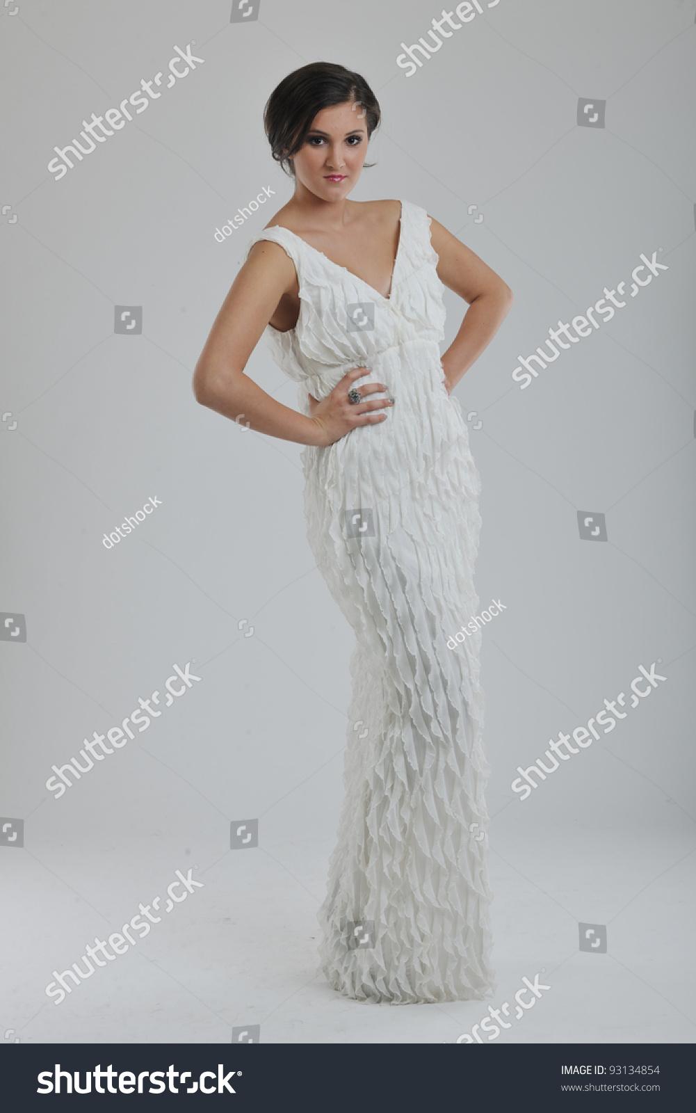 Beautiful Young Bride Wearing Wedding Dress Stock Photo 93134854 ...